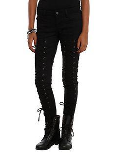 Royal Bones By Tripp Black Lace-Up Skinny Jeans, BLACK, hi-res