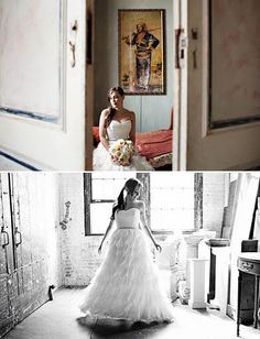 We see the bride through the doors and the bride again in a rustic room