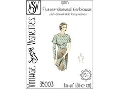 1930's Flutter-sleeved tie-blouse B34-40 PDF | Etsy