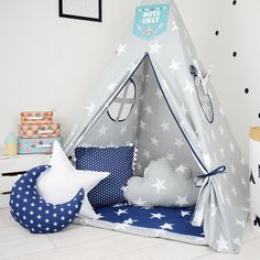 Childrens teepee playtent tipi zelt wigwam kids by MamaPotrafi Kids Play Teepee, Diy Teepee, Kids Tents, Play Tents, Baby Boy Rooms, Baby Room, Kids Furniture, Kids And Parenting, Girl Rooms