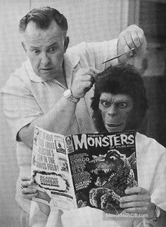 Planet of the Apes - Behind the scenes photo of Lou Wagner & John Chambers