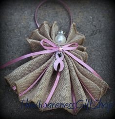 Breast cancer pink Awareness Burlap Angel by TheAwarenessGiftShop