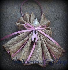 Breast cancer pink Awareness Burlap Angel by TheAwarenessGiftShop