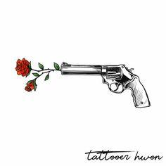 Drawing Tips gun drawing Rose Drawing Tattoo, Tatoo Art, Tattoo Drawings, Rose Drawings, Design Tattoo, Tattoo Designs, Tatuagem Guns N Roses, Dove Cameron Tattoo, Rose Zeichnung Tattoo
