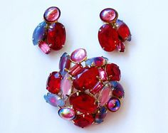Vintage Red and Pink Rhinestone Brooch and Earrings Demi Set Dragons Breath Rhinestone Vintage Clip On Earrings Bridal Jewelry Set!