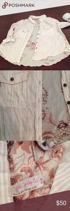 FP complementary patterns/color button down Free people uses complementary patterns and colors together in a thoughtful artsy way. This is a great example of that artistry. Soft cream and white stripes on the front of the button down and soft mall of flowers with tan leaves and sheer cream background. The cut is important to the rounded front and higher sides elongate the legs, creating a longer silhouette Free People Tops Button Down Shirts