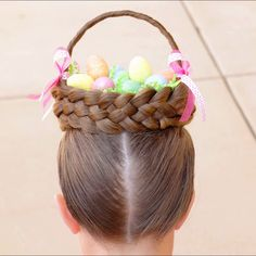 How to Make an Easter Basket out of Hair by Erin Balogh Turn a couple braids, and a headband into an Easter Basket made of hair. To see the full tutorial watch on my You Tube Channel: On Hair With Erin Crazy Hair Day Girls, Crazy Hair For Kids, Crazy Hair Day At School, Crazy Hair Days, Classy Updo Hairstyles, Oval Face Hairstyles, Baby Girl Hairstyles, Braided Hairstyles, Cool Hairstyles