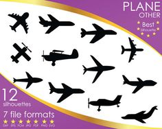 Hey, I found this really awesome Etsy listing at https://www.etsy.com/listing/503596542/12-silhouettes-plane-airplane-aircraft