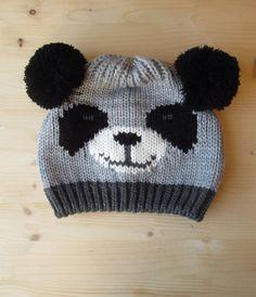 Panda Bear Knitting Hat, Pom Pom Ears Hat, Funny Hat, Pom Pom Hat by CuteCuterCutestEver on Etsy https://www.etsy.com/listing/215984541/panda-bear-knitting-hat-pom-pom-ears-hat