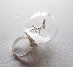 globe ring glass dome with Shiny Silver Adjustable by PrettyNatali, $35.00  ADORABLE