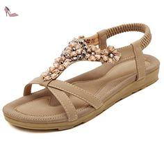 AgooLar Femme Pu Cuir Mosaïque Élastique à Talon Bas Sandales, Abricot, 35 - Chaussures agoolar (*Partner-Link)