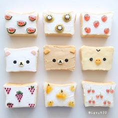 Rilakkumar, Korilakkumar, Kiiroitori & fruit toast art by yuka ( Tostadas, Kawaii Dessert, Food Art For Kids, Creative Wedding Cakes, Bento Recipes, Cute Desserts, Japanese Dishes, Food Decoration, Cafe Food