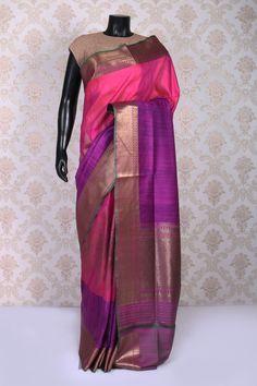 #Pink and #purple dual weaved with antique gold banarasi silk saree with #zari weaved pallu -SR10979