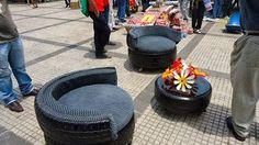 juego de muebles, hecho de neumáticos reciclados