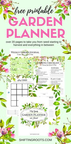 Planning a flower or vegetable garden this spring? Get organized with this free printable garden planner. Over 20 pages of checklists, grids, journal pages, trackers and more! Whether you container g Gardening For Beginners, Gardening Tips, Gardening Courses, Flower Gardening, Gardening Apron, Hydroponic Gardening, Printable Planner, Free Printables, Free Garden Planner