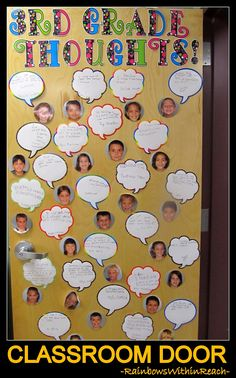 Classroom Door of Student Photos with Quote Bubbles via RainbowsWithinReach