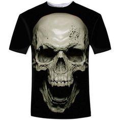 066a73d2a9 3D T-Shirt Women Men Skull Zbrush Print Casual Short Sleeve Sportswear Black