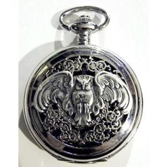 Pocket Watch and Chain Fob Steampunk Silver Owl by tempusfugit, $55.00