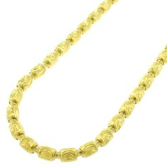 International Gold over Silver 4mm Fancy Moon-cut Barrel Necklace