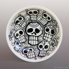 Day of the Dead Skulls - Dia De Los Meurtos - Ceramic Pottery Hand Built and Painted Small Bowl:
