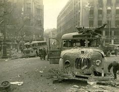 Red Army soldiers with a destroyed Hungarian MÁVAG bus in Deák Square in Budapest after the Siege of Budapest December, 1944 – 13 February, European Map, European History, Old Pictures, Old Photos, The Siege, Total War, Army Soldier, Red Army, Budapest Hungary