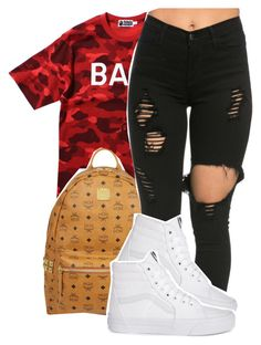 """😜😜 I'm late on groups lol"" by deasia-still-thugin-honey ❤ liked on Polyvore featuring beauty, A BATHING APE and MCM"