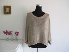 METALLIC KNIT TOP shirt SLOUCH baggy loose fitting tee GOLD jumper sweater Italy