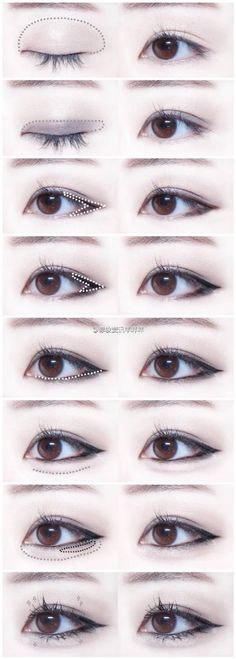 Trendy Makeup Korean Tutorial Eyeliner Make Up 63 Ideas Korean Makeup Look, Korean Makeup Tips, Asian Eye Makeup, Cat Eye Makeup, Makeup Eyeshadow, Prom Makeup, Sparkly Eyeshadow, Hair Makeup, Monolid Eyeliner