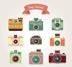 Say Cheese Retro Camera Vector