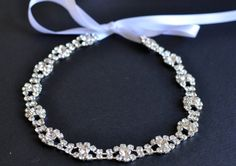 Rhinestone Ribbon Headband Wedding Headpiece by TangCreations, $33.95