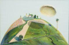 Wayne Thiebaud - Palm Hill and Farm Cloud - 1968 Landscape Art, Landscape Paintings, Landscapes, Green Landscape, Wayne Thiebaud Paintings, Mountain Drawing, Pop Art Movement, Principles Of Art, Renaissance Art