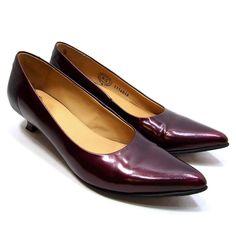 John Fluevog Womens Kitten HeelShoes Size 8.5 Pointed Toe Burgundy Leather $275 #JohnFluevog #KittenHeels #Casual