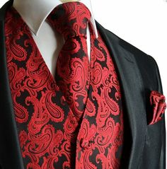Shop Men's Ferrecci Black Red size Vests at a discounted price at Poshmark. Description: Black and Red Tuxedo Vest and Tie no handkerchief. Wedding Vest, Tuxedo Wedding, Red Wedding, Wedding Suits, Wedding Tuxedos, Wedding Waistcoats, Ivory Wedding, Mens Tuxedo Suits, Tuxedo Vest