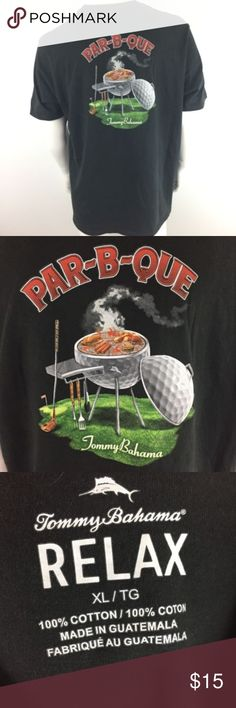 Tommy Bahama Par B Que T-Shirt Size XL Tommy Bahama Mens T-Shirt XL Black Par-B-Que Grilling Golf Relax Fit MC12 Measurements (in inches) are as follows:  Armpit to armpit: 23 Shoulder to hem (front): 29 Tommy Bahama Shirts Tees - Short Sleeve #golfshirts