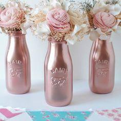 Copper Painted Milk Bottles Baby Shower Decor