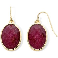 Liz Claiborne Purple Stone Gold-Tone Drop Earrings (920 RUB) ❤ liked on Polyvore featuring jewelry, earrings, long earrings, purple jewellery, liz claiborne, liz claiborne earrings and stone jewelry