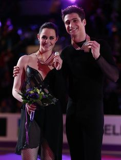 LONDON, CANADA - MARCH 16:  Tessa Vitue and Scott Moir of Canada skate in the Ice Dance Free Dance Program during the 2013 ISU World Figure Skating Championships at Budweiser Gardens on March 16, 2013 in London, Ontario, Canada.