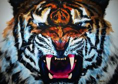 Tiger on canvas. Acrylics.  Tiger on canvas. Acrylics. Gallery quality print on thick 45cm / 32cm metal plate. Each Displate print verified by the Production Master. Signature and hologram added to the back of each plate for added authenticity & collectors value. Magnetic mounting system included.  EUR 39.00  Meer informatie