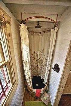 Tiny house shower - could double as a bathtub with a galvanized steel tub.