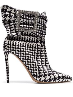 Alexandre Vauthier black and white Yasmin 100 houndstooth print buckle embellished ankle boots - Buy Online - Mobile Friendly, Fast Delivery Ankle Boots, Bootie Boots, Shoe Boots, Fall Booties, Top Shoes, Cute Shoes, Me Too Shoes, Women's Shoes, Shoes Style