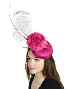 Fuchsia Fascinator Hat for Weddings Occasions by Hatsbycressida