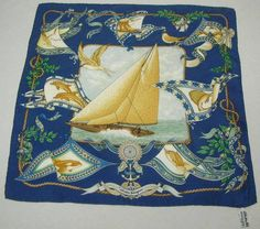 S Ferragamo - silk scarf - Sailboat surrounded by sea creatures