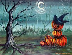 Spooky Hollow By Cinnamon Cooney The Art Sherpa as a Fully guided art lesson for…