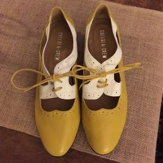 HARD TO FIND Chelsea Crew Misty cutout oxfords 8 Brand new never worn hard to find Chelsea Crew Misty cut out Oxford in mustard and cream. These are from Urban Outfitters. I'm selling them because I just have WAY too many pairs of shoes! Chelsea Crew Shoes Flats & Loafers