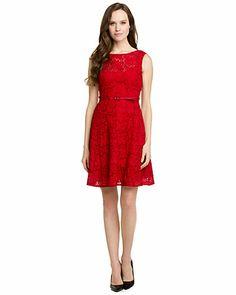 Nanette Lepore 'Balloon' Red Eyelet Belted Dress