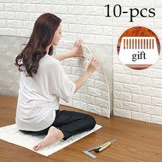 10pcs 3D Brick Pattern Wall Stickers Self-adhesive Panel ...