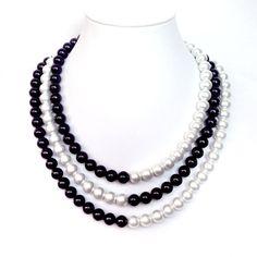 VENTA y negro collar de perlas  3 hilos  barra de por GetNoticed