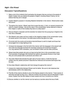 night by elie wiesel worksheets hw discussion questions for ww  night elie wiesel 17 discussion questions topics