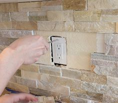 DIY:  How to Plan for and Install a Stacked Stone Wall + Tips on Installing Shelving, Hiding Outlets, etc - Kitchen Chronicles - via Jenna Sue Design Blog Kitchen Outlets, Wall Outlets, Stone Bar, Stone Kitchen, Stacked Stone Backsplash, Stacked Stone Walls, Backsplash Cheap, Kitchen Backsplash, Black Backsplash
