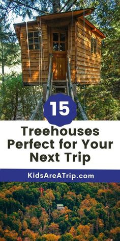 If you are looking for fall getaway ideas, why not book a treehouse rental? These glamping accommodations do not disappoint with their proximity to nature and stunning views. Book your treehouse rental today! - Kids Are A Trip |glamping|glamping ideas| camping| treehouse rental| treehouse vacation